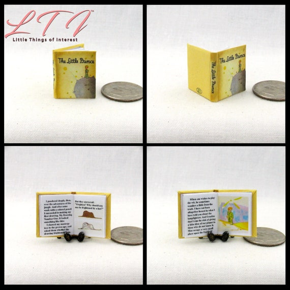 THE LITTLE PRINCE Illustrated Miniature Book Dollhouse 1:12 Scale Readable Book