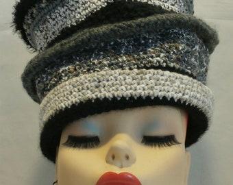 Black White Gray Tall Hand Crocheted Knit Top Hat Beret Slouchy Tam Beanie Rasta Skull Cap Wear Your Way
