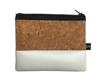 Pb_pochette Small, white and cork leather clutches, handmade, coin purses, glove compartment, door tricks