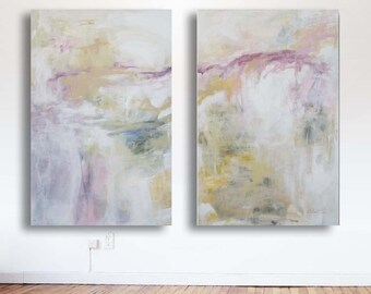 Original Diptych Abstract two Paintings 60 x 48, expressionism, white yellow ochre pinks wall art canvas zen painting by Victoria Kloch
