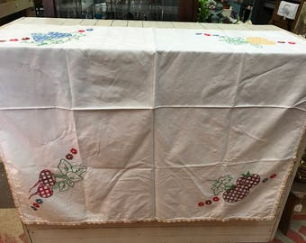 Vintage Square Table Topper with Fruit & Vegetable Embroidery