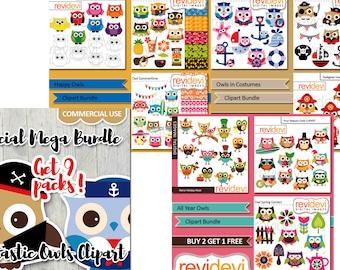 Owls clipart bundle sale / cute owl clip art commercial use, instant download / printable die cut planner stickers design