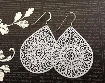 Women's White Drop Earrings, Big White Earrings, Large Filigree Dangles, Filigree Fashion Dangle Earrings, White Drop Jewelry Gift for Her