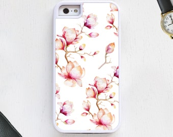 Pretty retro pink purple magnolia flowers custom design CellPhoneCase protective bumper cover iPhone6 iPhone7 Android s5 s6 s7 note4 note132