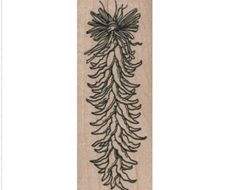 Rubber stamp chili pepper ristra vegetable  cling, unmounted or  wood Mounted  scrapbooking supplies 7208