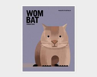 WOMBAT, Wildlife of Australia, Nursery Animal Art Print, Kids Educational Poster, Retro Vintage Minimalist Mid-century Animal Illustration