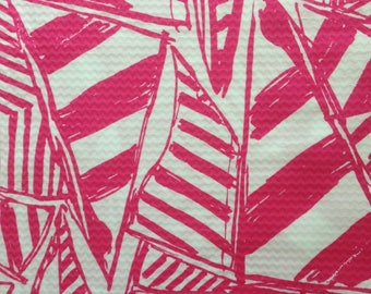 "capri pink yacht sea pique cotton fabric square 17""x17"" ~ lilly summer 2015 ~ lilly pulitzer"