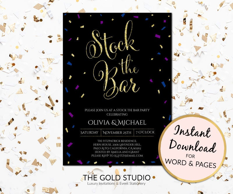 Instant Download Stock the bar invitation Editable template ...