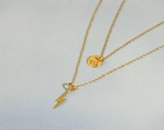 Set: 14k Solid Gold Layered Necklace Set, Lightening Bolt and 6mm Hand Stamped Initial Necklace, Solid 14k Necklace Set, Solid 14k Layer Set