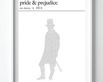 Mr. Darcy Pride & Prejudice Text Art Print Poster