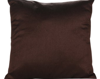 Set of 2 Solid Dark Brown Pillow Cover and Sham Covers Chocolate Brown Accent Pillow 14x14 16x16 18x18 20x20 22x22 24x24 26x26