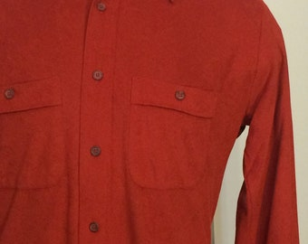Vintage MENS 70s Persuade rusty orange colored ultra suede long sleeve shirt, size M