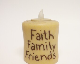 Faith Family Friends Primitive Candle, Decorative Candles, Accent Lighting