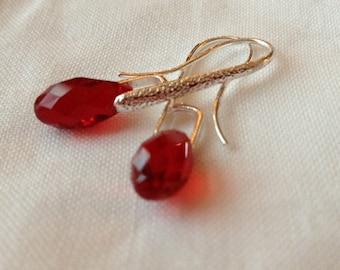 Swarovsk Siam Red Briolette Drop Earrings