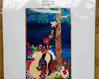 guitar art quilt pattern, guitar quilt