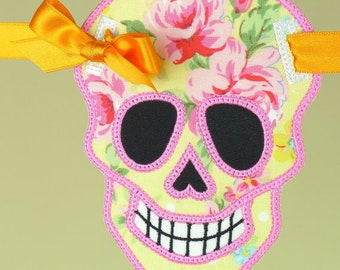 Skull Embroidery fabric Banner