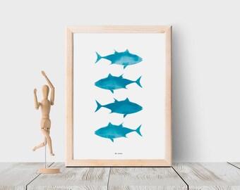 Fish art print, Printable wall art, Blue nursery decor, Fish poster, Fish nursery art, Bedroom decor, Fish printable, Ocean life nursery