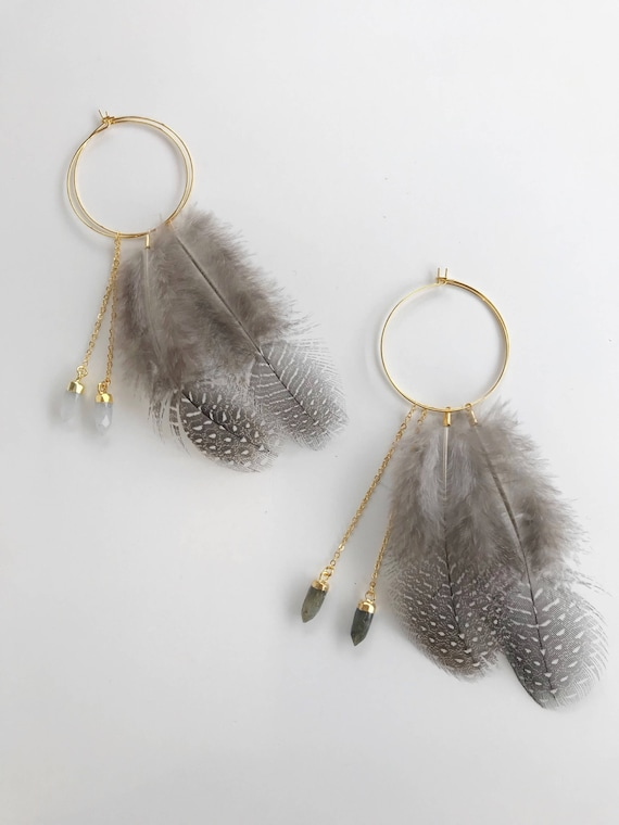 Feather Hoop Earring