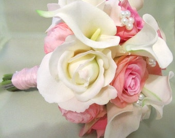 Pink white and Ivory wedding bouquet in real touch roses and calla lillies and silk pink roses and ranuculus, bridal bouquet