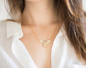 Raw Custom Animal Necklace Necklace Bird Necklace Owl Necklace Gold Necklace Dainty Necklace Layered Necklace Owl Pendant Bird Jewelry