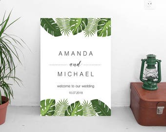Tropical Wedding Welcome sign | INSTANT Download | PDF file editable with Acrobat Reader | personalized wedding party template #TPC