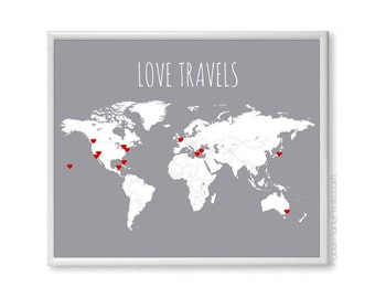 DIY Love Travels World Map Couples Gift, Travel Map Poster Print, Pin Map Traveler Husband Gift, 11x14 Blank World Map With Heart Stickers