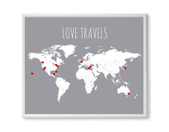 Diy love travels world map couples gift travel map poster like this item gumiabroncs Choice Image