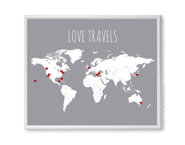 Diy love travels world map couples gift travel map poster description travel map set for world gumiabroncs Image collections