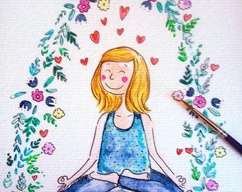 Yoga love, meditation pose, flower, watercolor,