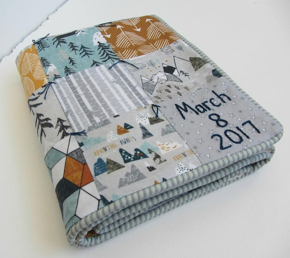 Personalized Baby Crib or Toddler Quilt with HandEmbroidered Name and Birthdate ~Adventure Awaits ~Mountains Trees Arrows ~Gray Teal Mustard