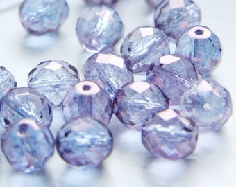 10pcs Czech Fire Polish Faceted Round-Cyrstal Purple Coated 10mm (FP10150)