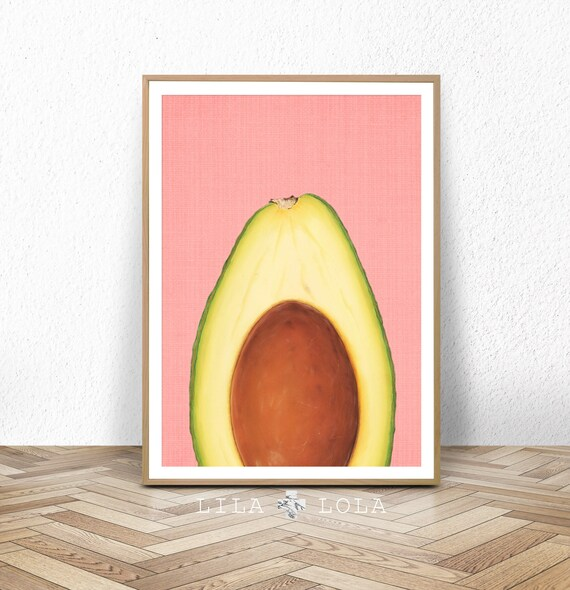 Kitchen Wall Art Print, Avocado Poster, Tropical Fruit Decor, Large Printable Poster, Digital Download, Modern Minimalist, Pink and Yellow