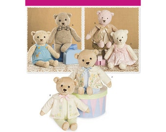 "Simplicity Pattern 8155 Stuffed 21-1/2 "" Bears with Clothes"