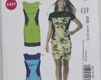 """Sz 4 6 8 10 12  Bust 29.5""""- 34"""" McCall's Easy Color Block Dress Sewing Pattern 56278 with Front and Back Yoke and Sleeve Variations"""