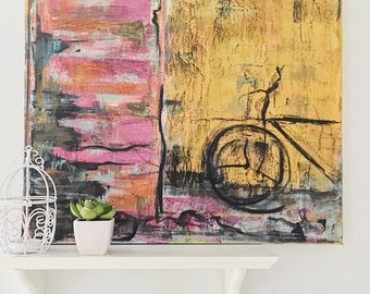 Vintage bike acrylic painting. 20x16Inch
