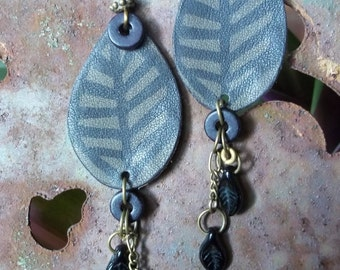 Long Earrings-Leather Earrings-Leaf Earrings-Earthy Earrings-Bohemian Earrings-Rustic Earrings-Artisan Earrings-Boho Jewelry