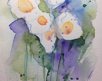 Original watercolor Flowers watercolor postcard Art Art abstract image modern Art watercolor painting