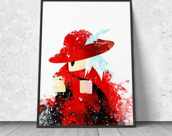 Final Fantasy, Red Mage Print, Retro Gaming Wall Decor, Final Fantasy Poster, Final Fantasy Jobs