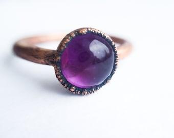 Amethyst Orb ring | Amethyst crystal ring | Purple amethyst and copper ring | Raw crystal jewelry | Amethyst crystal statement ring