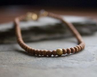 Sandalwood bracelet, yoga sandalwood bracelet, gold beaded bracelet, sandalwood beaded bracelet, stacking bracelet, layering bracelet