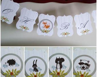 Customizable Woodland Banner/Baby animals, Baby Shower Banner with woodland animals,Fox,racoon,owl,squirrel and rabbit