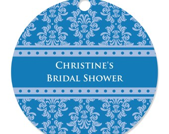 Damask Blue Personalized Party Tags - Bridal Shower or Wedding DIY Craft Supplies- 20 Count