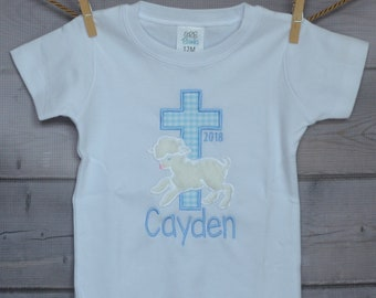 Personalized Easter Cross with Lamb Applique Shirt or Bodysuit Girl or Boy