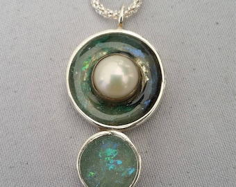 Walk in the water resin pendant in swirl blues and pearls