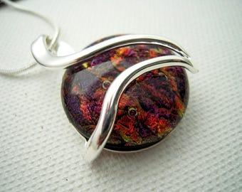 purple fused glass pendant - silver swirl - silver setting - dichoric glass jewelry - fused glass jewelry - OOAK
