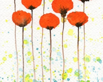 Watercolor Painting: Watercolor Flower Painting -- Art Print --  Good Morning Sunshine -- Orange Flowers -- 5x7