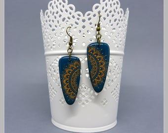 Pair of teal earrings bronze screen