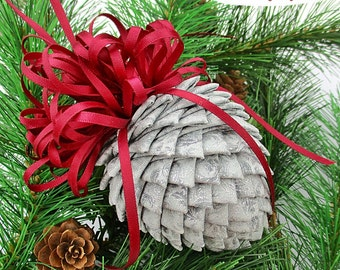 Fabric Pinecone Ornament - Silver Brocade with Burgundy Satin Bow - Christmas Ornament, Stocking Stuffer, Ornament Exchange, Co-Worker Gift