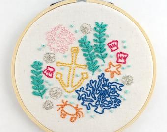 Ocean Sea Life Embroidery PDF Pattern - Handmade Gifts under 20 -Mermaid Art