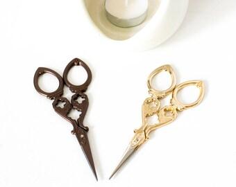Beautiful scissors, Sewing Supplies, Vintage scissor, Titanium Scissor Handicrafts, antique scissor,